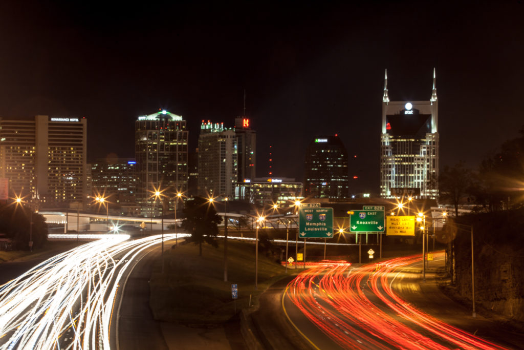 Downtown Nashville from I-65 and Chestnut St.