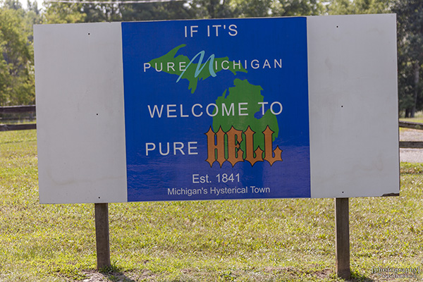 Hell, Michigan Sign